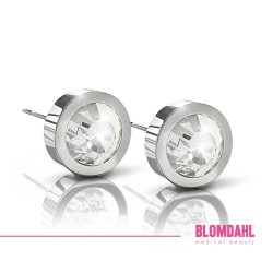 BLOMDAHL kolczyki hipoalergiczne Grand Bezel Crystal (I) 8mm srebrne