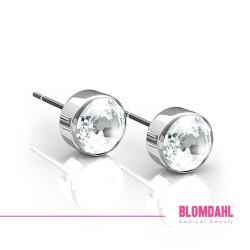 BLOMDAHL kolczyki hipoalergiczne Bezel Crystal (C) 5mm srebrne