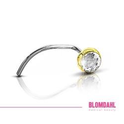 BLOMDAHL kolczyk przekłuciowy do nosa Bezel Crystal (C) 3mm złoty