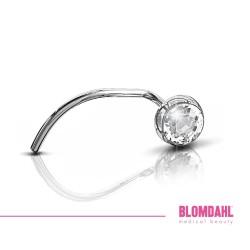 BLOMDAHL kolczyk przekłuciowy do nosa Bezel Crystal (C) 3mm srebrny